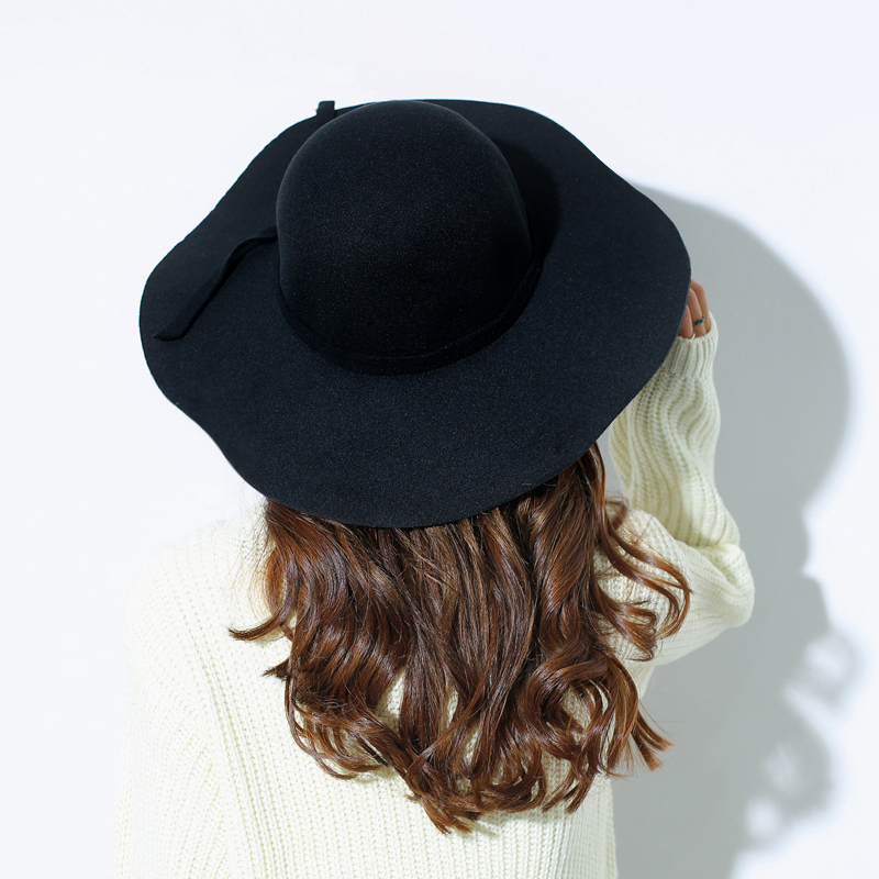 bc39fb70424 European and American big brim women woolen hat Dome pure color wave brim Fedora  hat-in Sun Hats from Apparel Accessories on Aliexpress.com