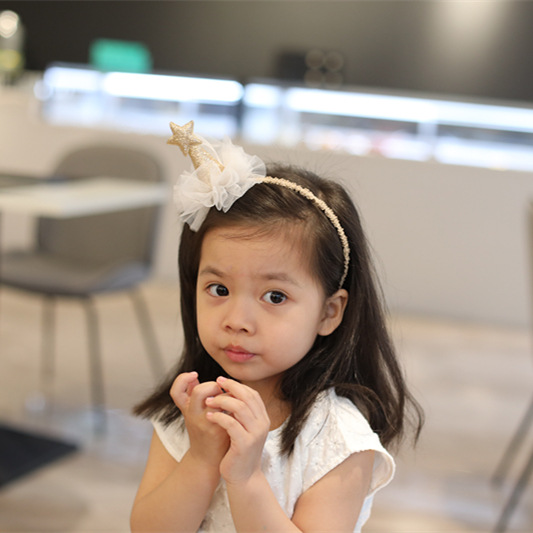 Korea lovely Star Cap Shape Hair Accessories For Girls High Quality Hair Band Princess Headband Yarn Weaving Hair Bow
