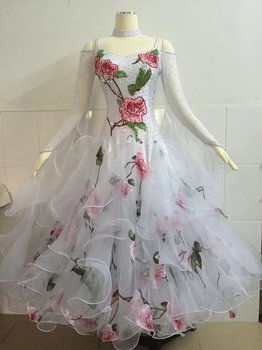 4b29f798da Vestido de la danza de salón para adultos de alta calidad por encargo Color  blanco vals Tango Ballroom competencia baile vestidos mujeres