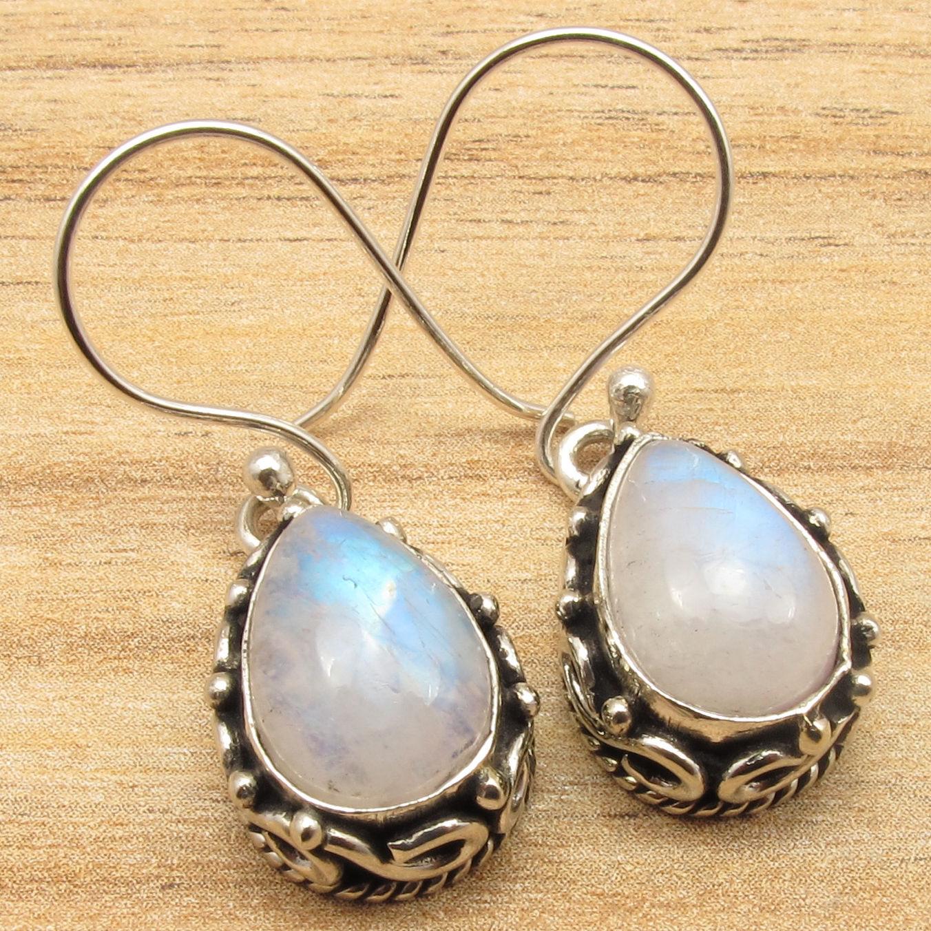 Bleu Feu ARC-EN-MOONSTONE Boucles D'oreilles! argent Plaqué Sur Cuivre Massif Bijoux Variation 3.5 cm