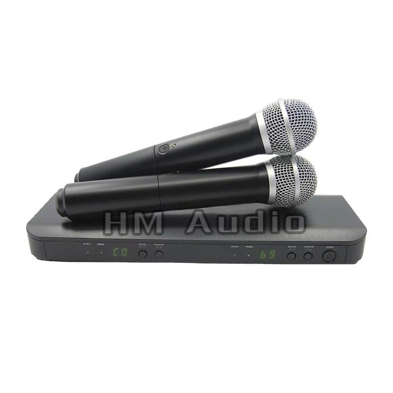 Профессиональный UHF Беспроводной микрофон Системы двойной ручной микрофон канала по выбору PRO CORDLESS сдвоенные микрофоны