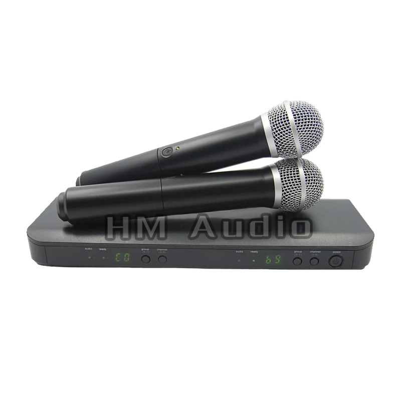 цена на Professional UHF Wireless Microphone System Dual Handheld Mic Channel Selectable PRO CORDLESS DUAL MICROPHONE
