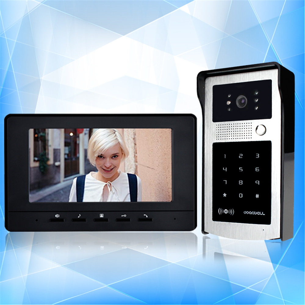 RFID 7'' TFT-LCD wired color video door phone black monitor screen+ 125KHz touch password outdoor camera intercom 500 users 7 inch video doorbell tft lcd hd screen wired video doorphone for villa one monitor with one metal outdoor unit night vision