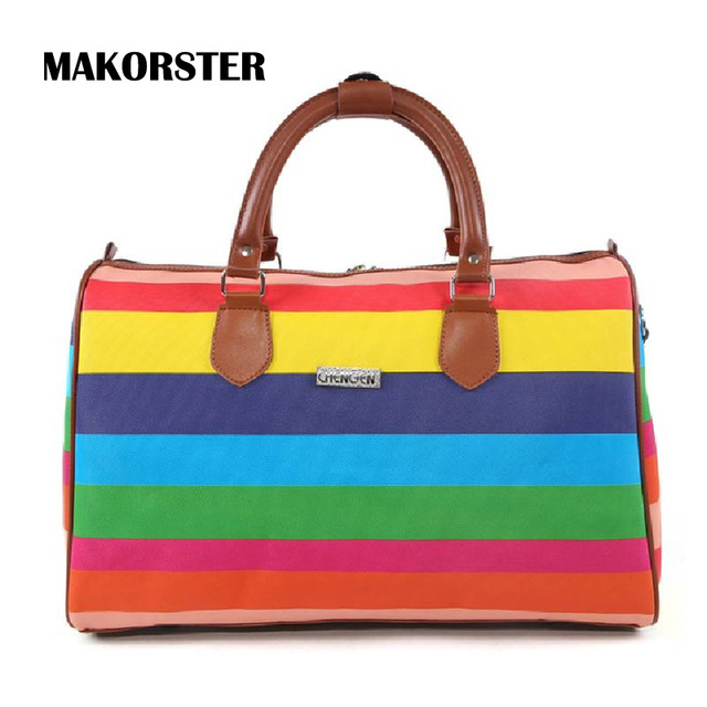 High Capacity Striped Style Travel Bags European and American Style Soft Zipper PU Baggage Luggage Short Journey Weekend Bags