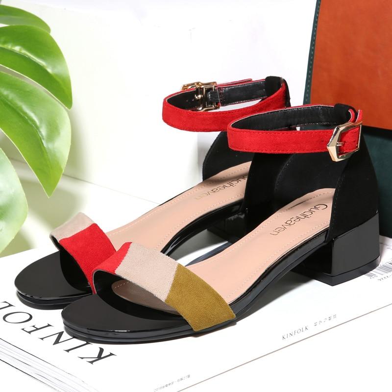 2019 Guciheaven Women Sandals Fashion Women Shoes Square Heel Peep Toe Women Sandals