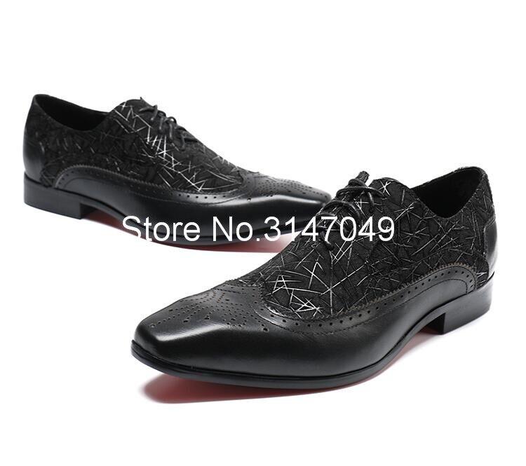 Homens Sapatos de Couro Preto Homens de Impressão S Vestido Casual Shoes Lace Up Sapatos Masculinos Feitos À Mão Plana Grande Tamanho Do Dedo Do Pé Quadrado sapatos de Casamento do noivo - 5