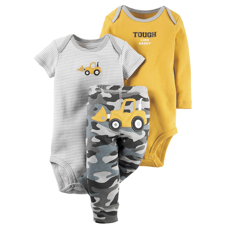 2018 New Baby Bodysuit Cute Baby Boy Clothes 100% Cotton 3pcs cute Romper dinosaur Pants Spring Summer infant rompers set 2017 new baby romper 100