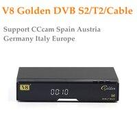 Openbox V8 Золотой DVB-S2/DVB-T2 DVB-C спутниковый ресивер с 1 год Европа CCcam 4 Клайн USB WI-FI Бесплатная доставка Декодер ТВ коробка