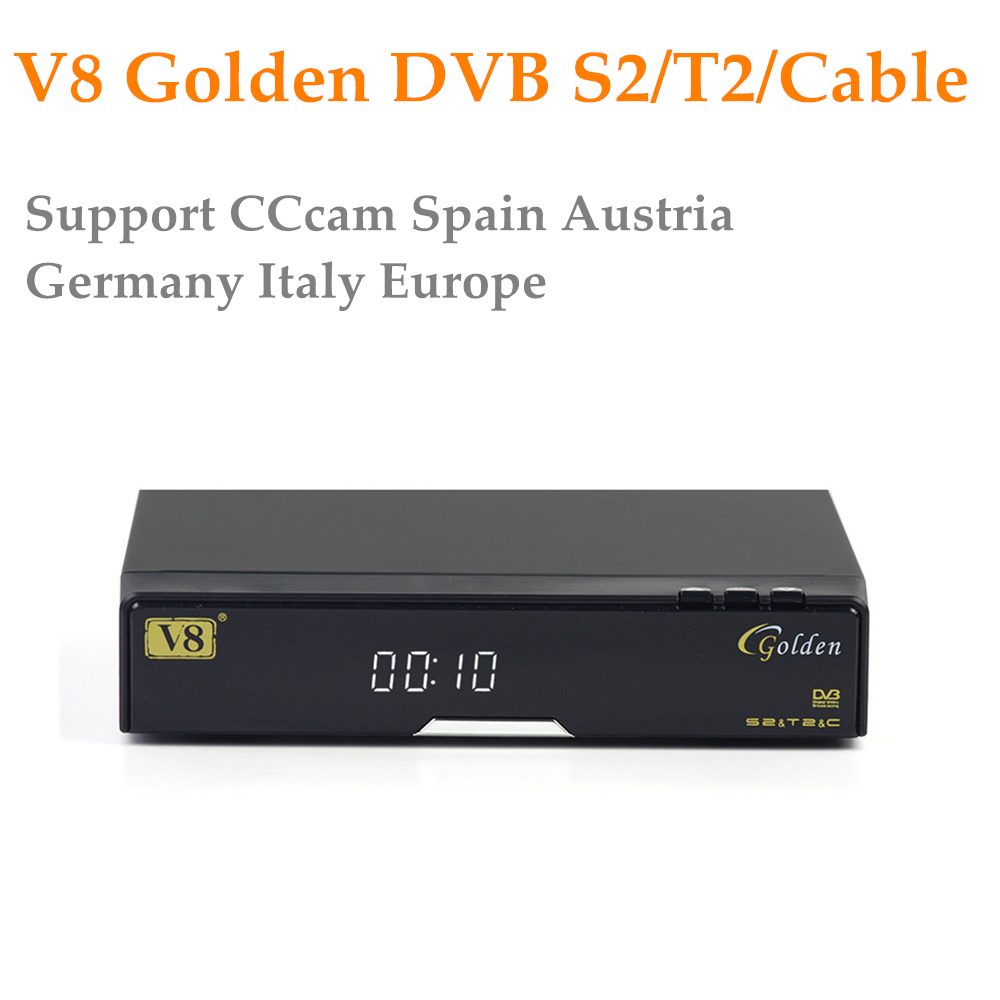 Openbox V8 Golden DVB-S2/ DVB-T2 DVB-C Satellite Receiver with 1 year Europe CCcam 4 Cline USB WIFI Free Shipping Decoder TV Box de it es channels dvb s s2 satellite fta lines 1 year cccam clines newcamd usb wifi satellite tv receiver for free shipping