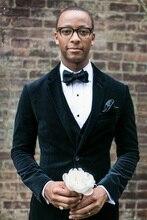 Latest Coat Pant Designs Black Velvet Men Suit Wedding Suits for Men Terno Slim Fit Skinny Formal Custom 3 Piece Tuxedo Vestidos
