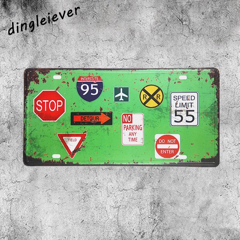 Стопа не введите Предупреждение Доска номерных знаков металлический знак винтаж открытый бляшек стены
