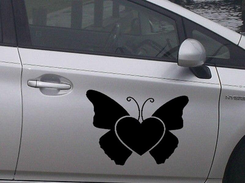 40cm x 33.8cm 2X Heart Butterfly Car Sticker For Cars Door Side Truck Window Rear Windshield Vinyl Decal zhang1 sunshade sun block for car side window black 65 x 38cm