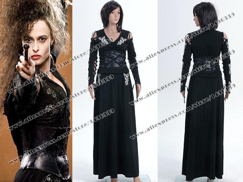 Harry Potter Cosplay Costume Bellatrix Lestrange Stretchable Cotton