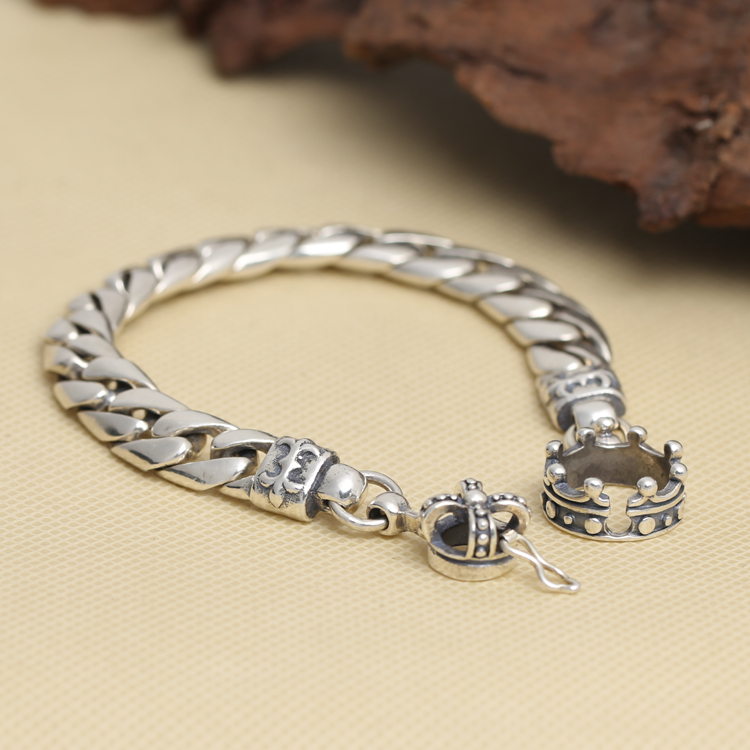 Solid Silver 925 Thick Chain Mens Bracelet Bold Link Crown Toggle Bracelet Men 100% Real 925 Sterling Silver Cool Jewelry Men