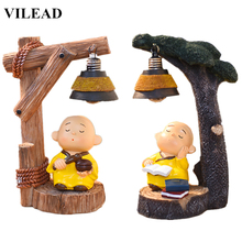 VILEAD 7.5 Resin Cute Little Monk Night Light Figurines Wood Color Buddhist Miniatures Cartoon Model Office Home Decor