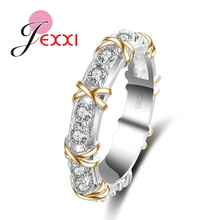 JEXXI Classic White Crystal Pave Woman 925 Sterling Silver Rings Fashion Wedding Jewelry Cross X Shape Ring for Women Best Gift