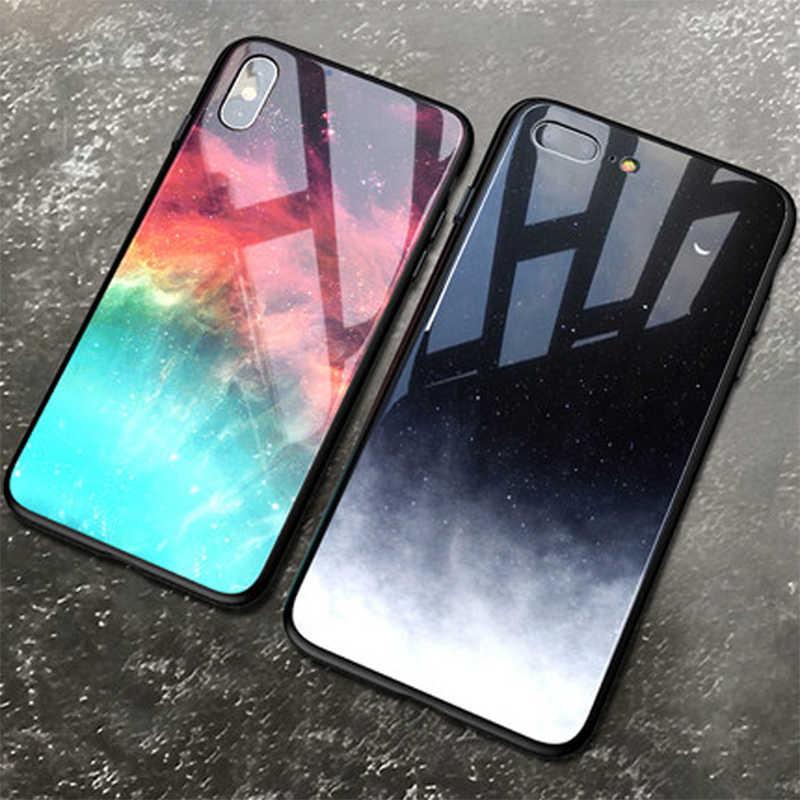 Pokrowiec na iPhone XS Max XR X 8 11 Pro Max pokrowiec silikonowy Slim szkło hartowane gwiaździste niebo na iPhone 8 7 Plus 6 6s 8Plus 11 pokrowiec Capa