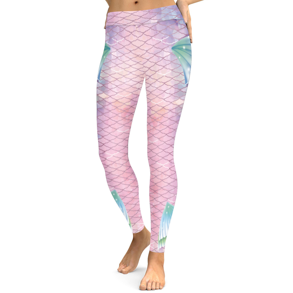 New Creative Fish Scale Digital Printed Pant Pants High Waist Nine Sub Pants Of European And U.s.a Women's Clothes Show Thin Relieving Rheumatism And Cold