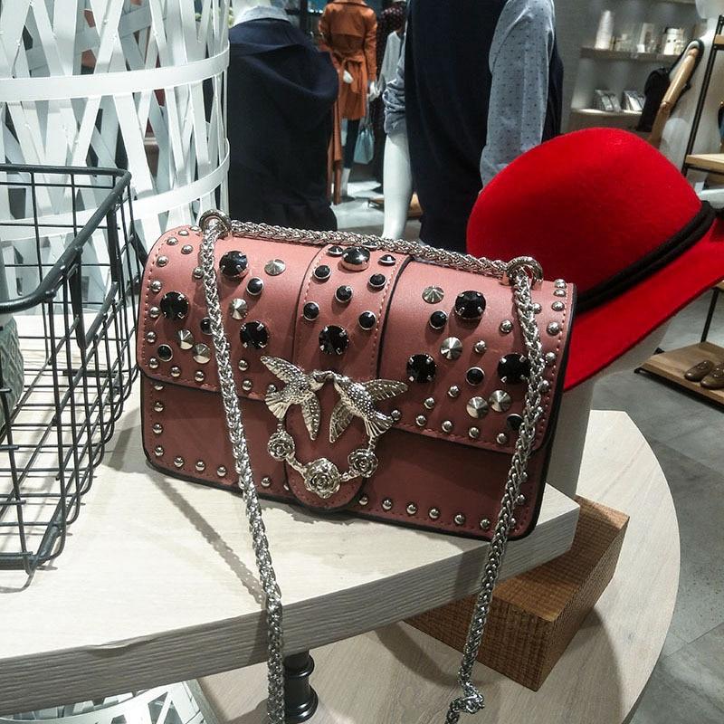 Steampunk Retro British Stylish Luxury Leather Women Crossbody Bags Fashion Color Rivet Design ladies Rock Party handbag stylish women s solid color pleated culotte