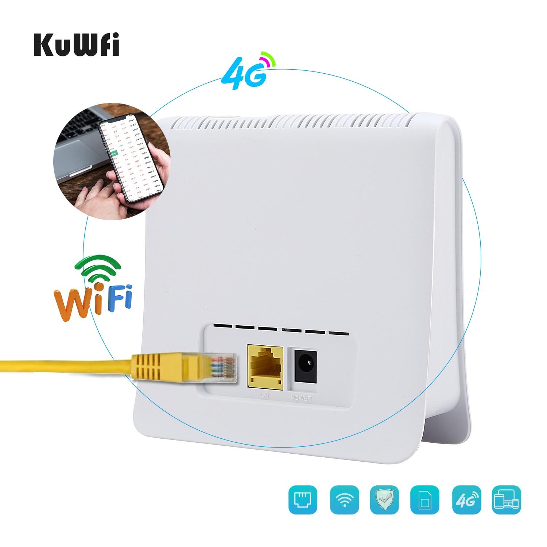 KuWFi débloqué 300 Mbps 4G LTE CPE routeur intérieur sans fil WiFi Mobile 2.4 GHz Hotspot WFi avec Port Lan fente pour carte SIM - 4