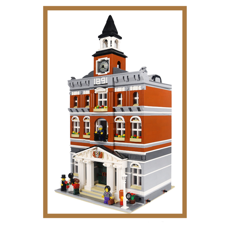 Lepin 15003 City Street The Town Hall Model Building Block Assembling Toys Kits compatible with 10224 Educational Gifts lepin 15013 city street carousel model building kits assembling blocks toy legoing 10196 educational merry go round gifts