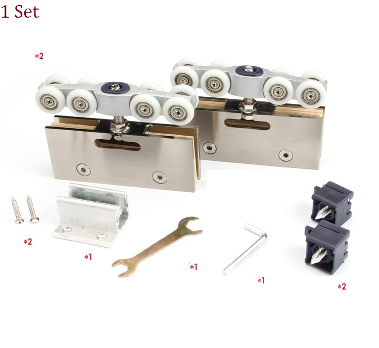 304 Stainless Steel Hanging Sliding Glass Door Roller Rollers 8 Wheels 120KG sliding door roller set 8pcs stainless steel and nylon castors hanging door wheels for furniture cabinet roulettes coulissant
