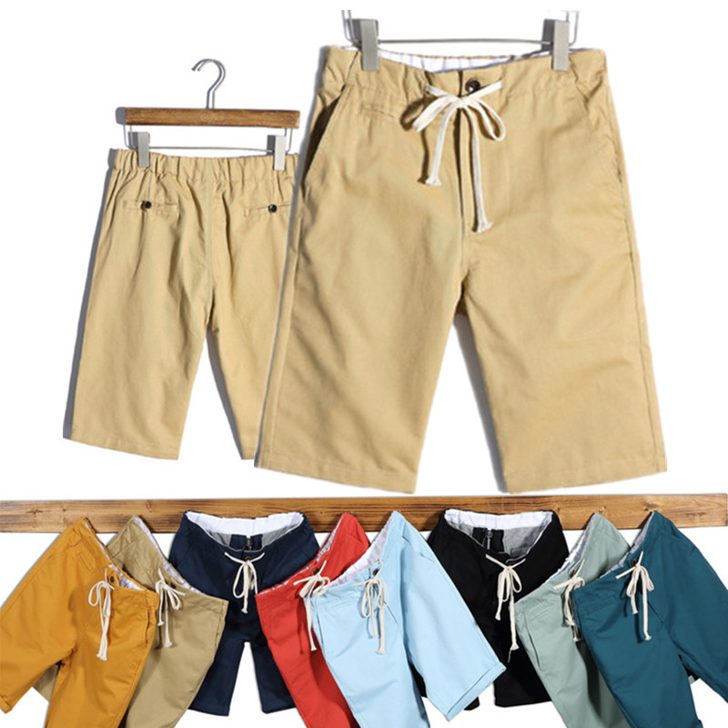 2018 Summer New Casual Shorts Men Cotton Sim fit Solid Knee length High Quality Bermudas Masculina Plus Size Khaki Shorts