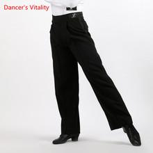 Arrival Discount On Sale Black Satin Boys or Men Latin Modern Ballroom Performance Dance Pants Can