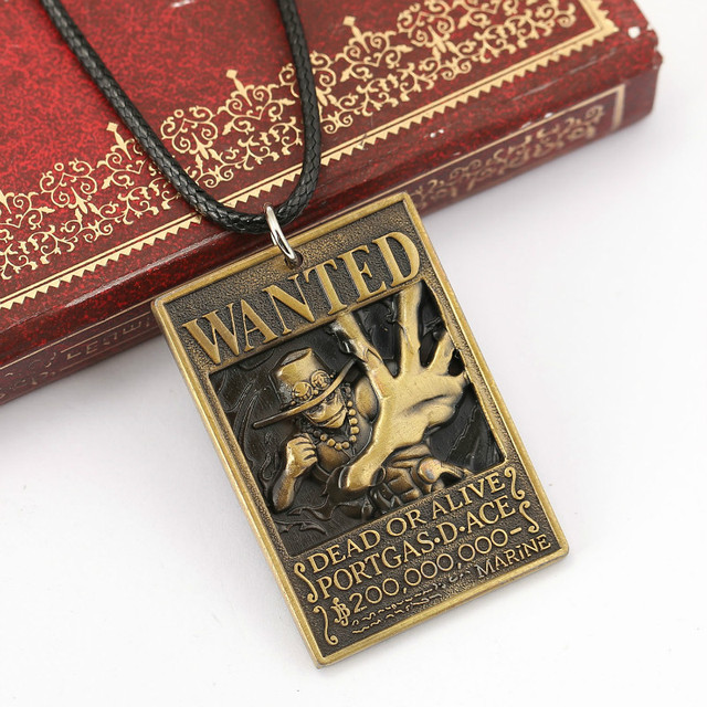 Anime One Piece Ace Warrant Pendant Necklace