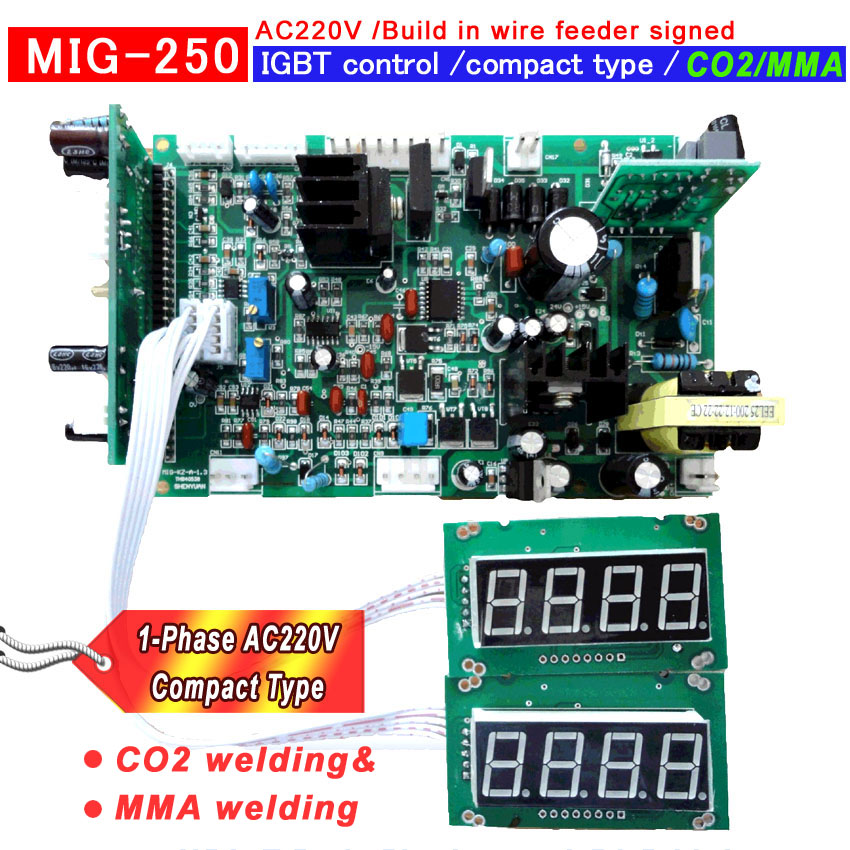 ÚJ CO2 MIG 250 Beépített huzal-adagoló, kompakt típusú IGBT hegesztőgép vezérlőlap vezérlőlap pcb áramköri lap AC220V