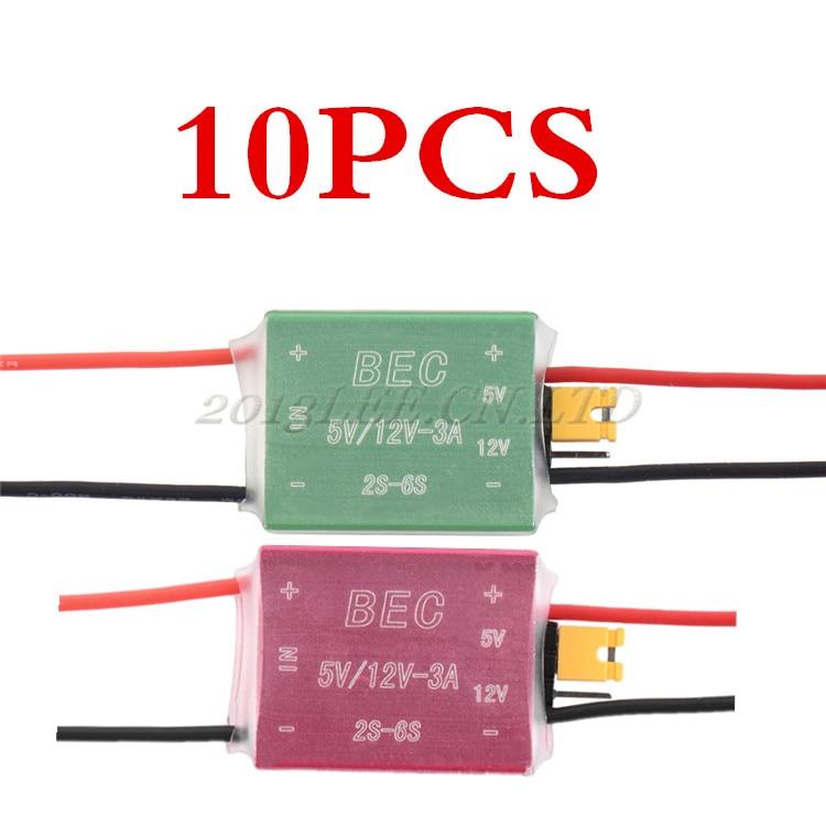 10PCS FPV 1.2G 5.8G Micro BEC W/CNC Enclosure 12V 3A Output 4S-6S for Telematry US NEW fpv new micros bec cnc 12v 3a output 4s 6s for fpv telematry high efficiency micros becs cncs enclosures beca