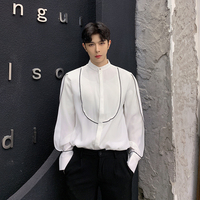 2019 Spring New Men Stand Collar Casual Long Sleeve Shirts Male Black White Party Dress Shirts