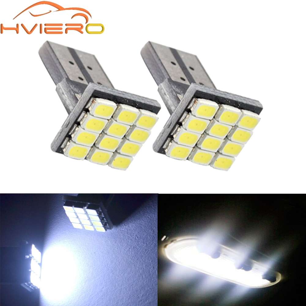 T10 W5W 12SMD 1206 Car Wedge White LED DC 12V Canbus No Error Decoder Car External Lights License Plate Corner lamp Backup Lamp 2 pairs canbus no error auto led license plate lamp car number lights for chevrolet canbus cruze all cars 09