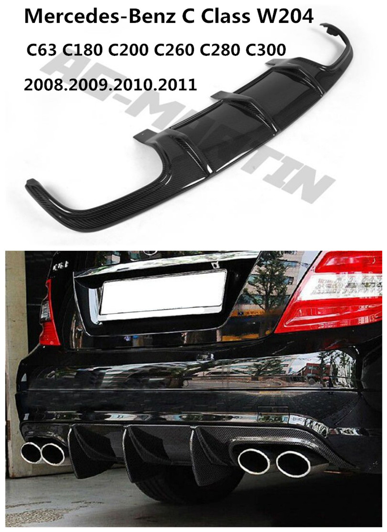 Car Carbon Fiber <font><b>Rear</b></font> Lip Spoiler For Mercedes-Benz C Class W204 C63 C180 C200 <font><b>C300</b></font> 2008-2011 Bumper <font><b>Diffuser</b></font> Auto Accessories image