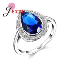 Luxury Heart Shape Blue CZ Crystal 925 Sterling Silver Wedding Engagment Rings For Women Fashion Bands Jewelry cheap Jemmin 925 Sterling Zircon Third Party Appraisal Fine Bezel Setting None R16800 Classic Wedding Bands Engagement Finger Rings