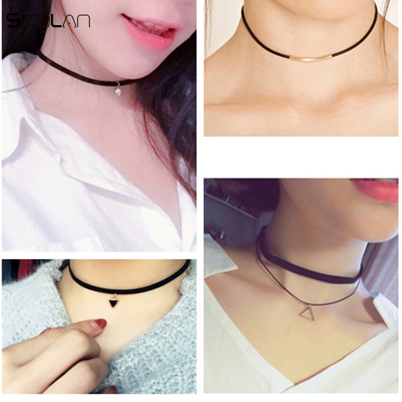 Sindlan Necklace Fashion Punk Jewelry Crystal Multilayer Triangle Pendant Chain Black Velvet Leather Choker Necklace For