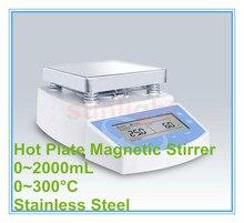 Agitador magnético de placa caliente Digital, capacidad de 2L, 300 Celsius, temperatura de calentamiento y tiempo de agitación seleccionable