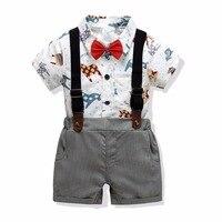Baby Boy Clothing Sets Summer 2019 Fashion Gentleman Suits Newborn Infant Boys Clothes Cartoon Shirts+Shorts 2pcs Baby Outfits