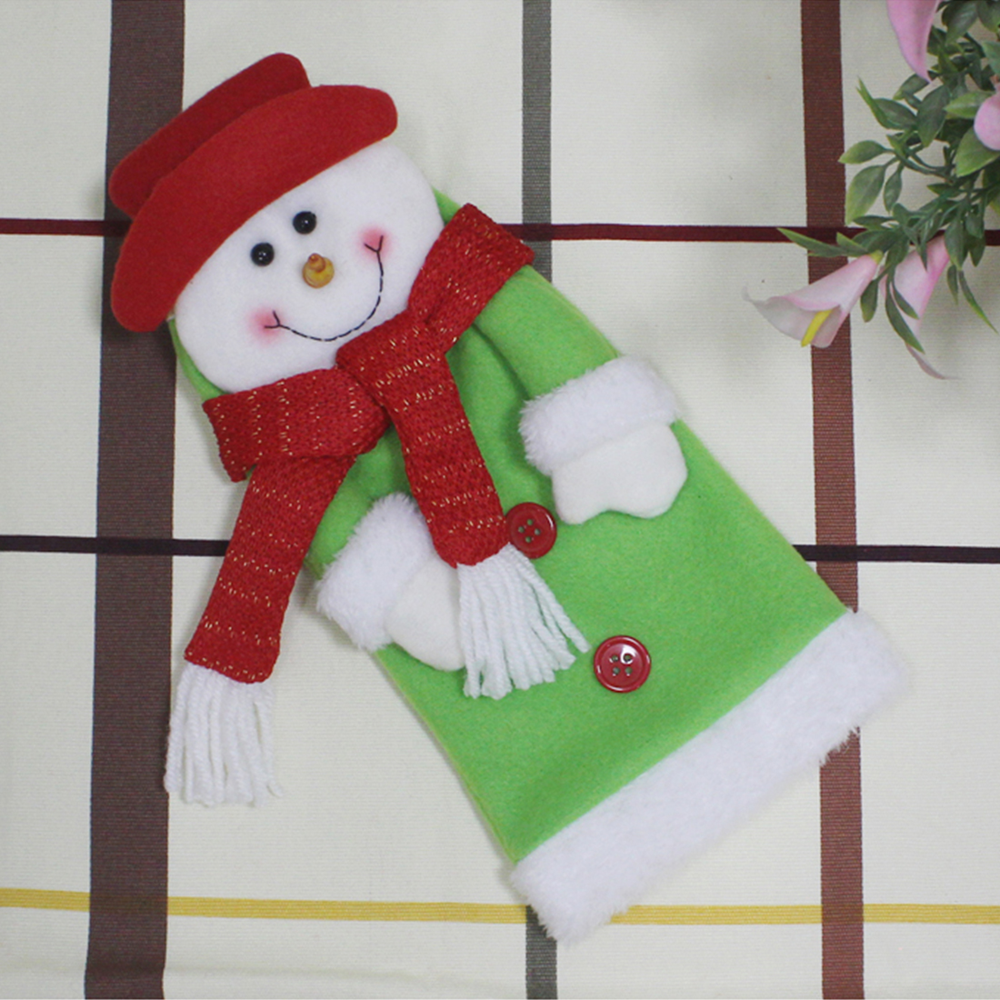 New Christmas Bottle Sets Santa Claus Snowman Wine Bottle Cover Holders Wedding Birthday Party Decoration Supplies