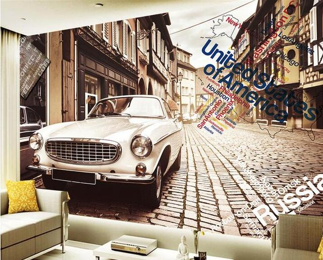 Custom Photo D Wallpaper Non Woven Mural Vintage Car Graffiti Nostalgic Cafe Painting D Wall