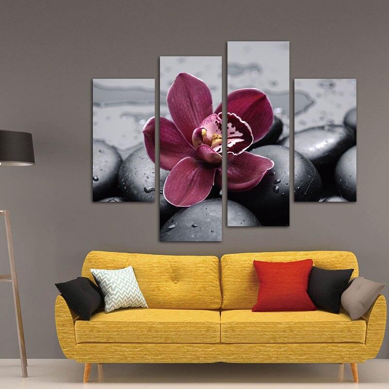 ③Wall Art de Peinture Impression Sur Toile Rouge Foncé