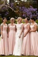 Long Pink Bridesmaid Dresses With Short Cap Sleeve 2016 Summer A Line Chiffon Plus Size Formal vestido madrinha Custom Party