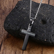 Free Customize Inspirational Bible Cross Pendant Necklace Women Men Jewelry(China)