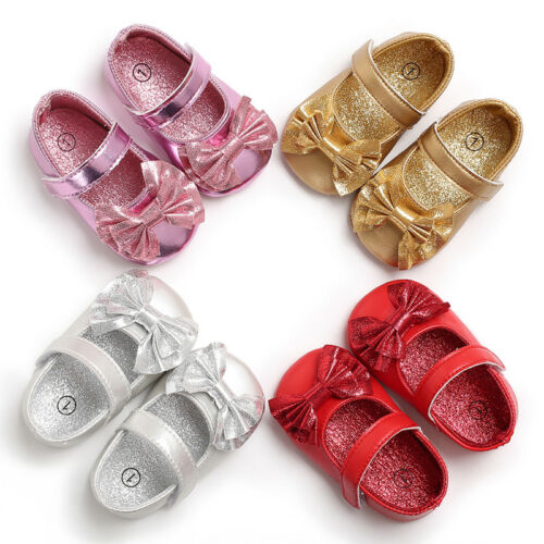 4 Colors Styles Baby Girl Shoes Soft Sole Princess Crib PU Leather Shoes Fashion Bow Solid Breathable Casual Prewalker 0-18M