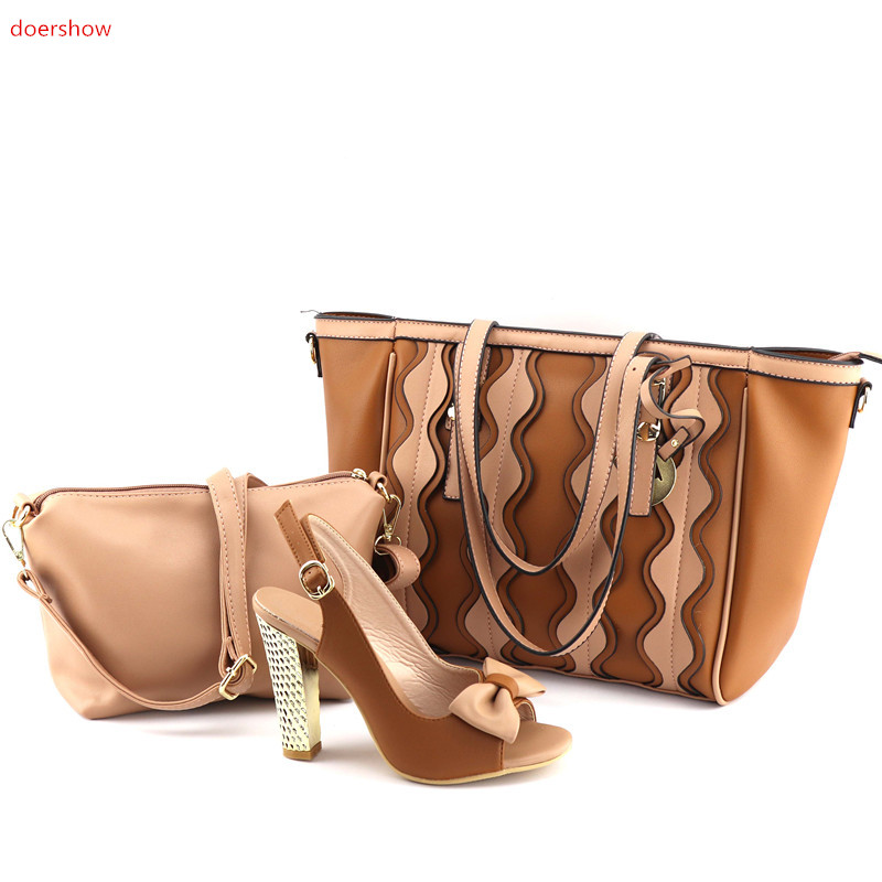 doershow brown Italian Shoes with Matching Bag Set Decorated with Rhinestone African Shoe and Bag Set Italy Shoe and Bag UL1-6 travel beauticians professional cosmetic makeup bag large capacity beauty organizer women portable makeup storage box neceser