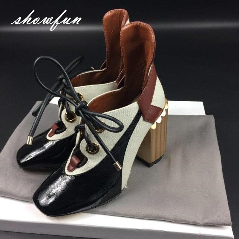 Для женщин Пояса из натуральной кожи в стиле пэчворк Туфли-лодочки на шнуровке Брендовая дизайнерская обувь на высоком толстом каблуке Дем...