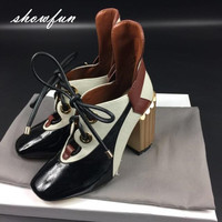 Women S Genuine Leather Patchwork Lace Up Pumps Brand Designer Thick High Heel Spring Autumn High