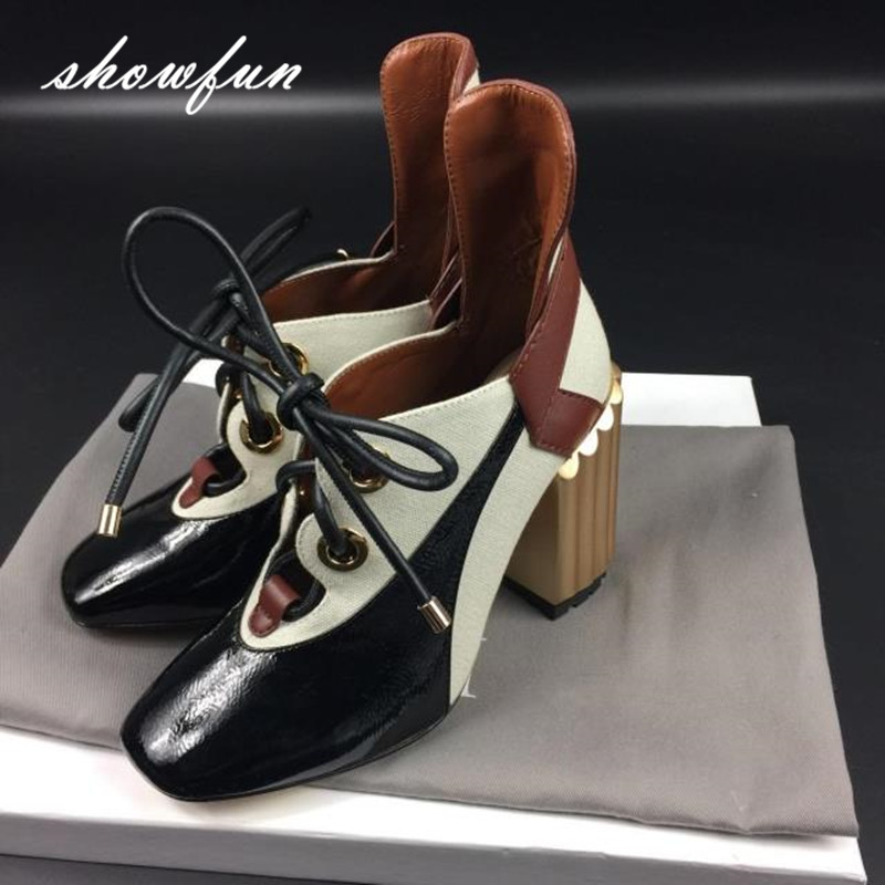 Women's Genuine Leather Patchwork Lace-up Pumps Brand Designer Thick High Heel Spring Autumn High Quality Punk Shoes for Women 2016 spring designer women shoes 6 colors thick heel patent leather slip on pumps brand designer quality dress shoes with buckle