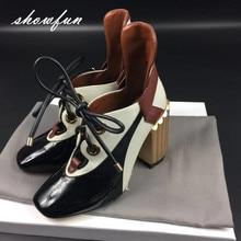 Véritable de femmes En Cuir Patchwork Dentelle-up Pompes Marque Designer Épais Talon Haut Printemps Automne Haute Qualité Punk Chaussures pour les Femmes