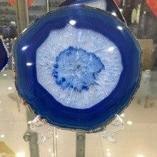 150 مللي متر كبير الأزرق العقيق شريحة جيودي مصقول كريستال كوارتز